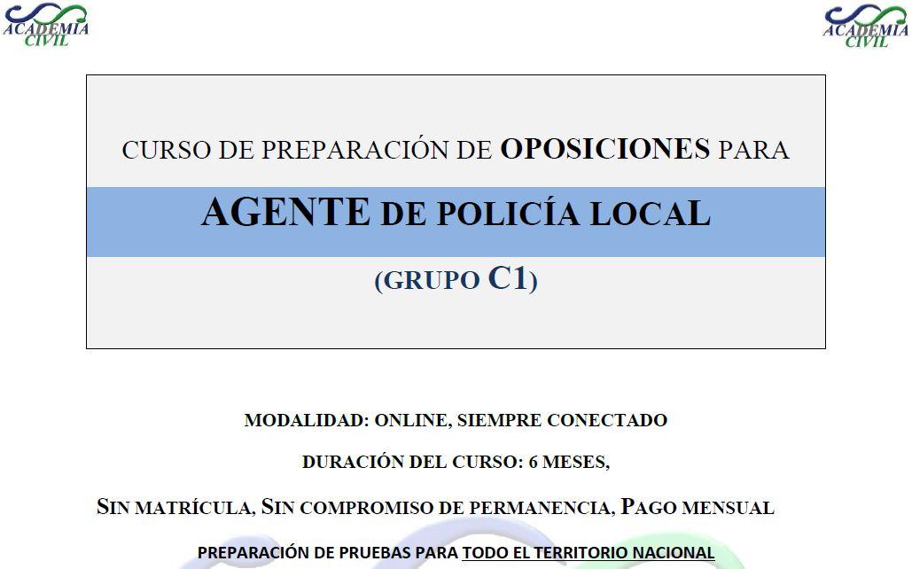 Curso de preparación para Policía Local – Grupo C